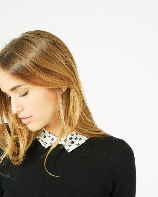 Pretty black sweater with stylish neckline (2) - 1-2-3