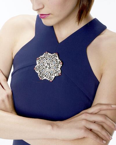 Robe bleu encre détail bijou Florine (1) - 1-2-3