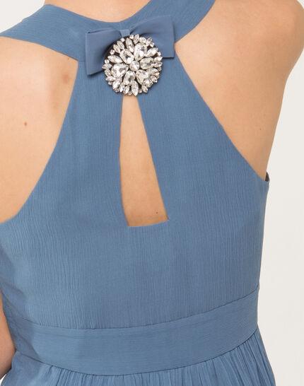 Florane blue silk dress with jewelled back (6) - 1-2-3