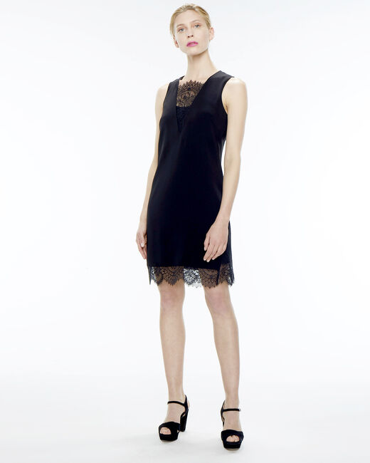 Flocon dual-fabric black dress (1) - 1-2-3