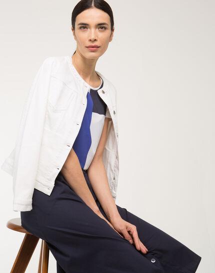 Uma white denim jacket with braided collar PhotoZ | 1-2-3