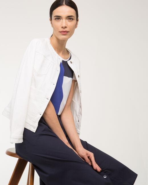 Veste blanche en jean col tressé Uma (2) - 1-2-3