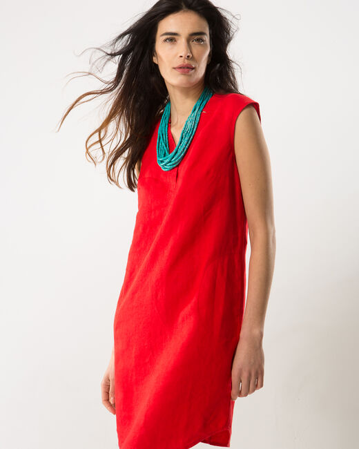 Bellini red linen dress (2) - 1-2-3