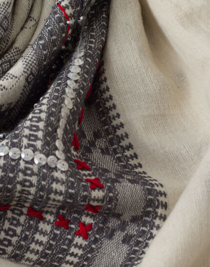 Souad cotton grey printed scarf PhotoZ | 1-2-3