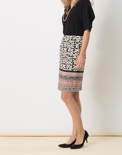 Dylane black and white printed skirt (3) - 1-2-3