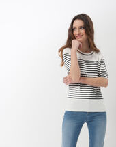 Line t-shirt with jewelled neckline navy.