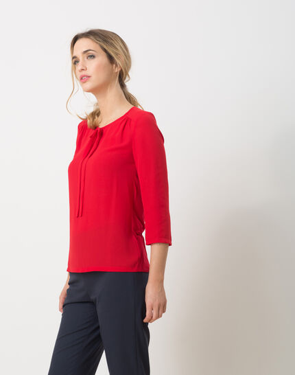 Lipstick red T-Shirt with bow neckline (3) - 1-2-3