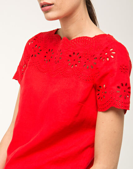 Ballade red embroidered dress in linen (5) - 1-2-3