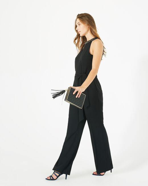 Carly black jumpsuit with Swarovski-embellished neckline (2) - 1-2-3