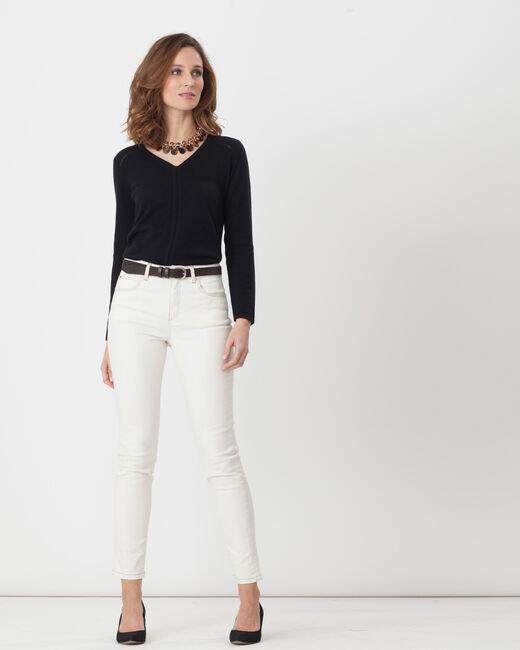 Xandrea 7/8 length cream trousers with belt (1) - 1-2-3