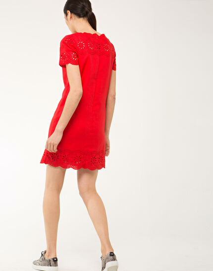 Ballade red embroidered dress in linen (4) - 1-2-3
