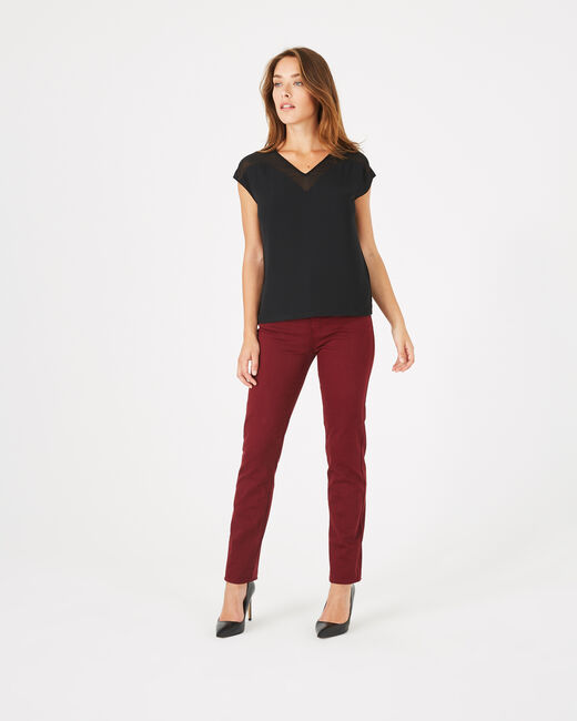 Beryl black dual-fabric T-shirt (1) - 1-2-3