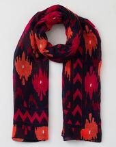 Sunset fuchsia printed scarf in mixed linen light fuchsia.