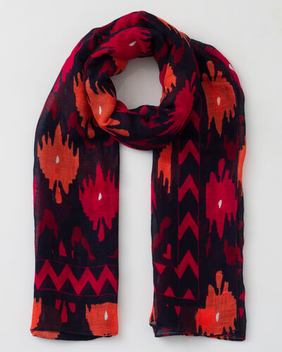 Sunset fuchsia printed scarf in mixed linen (1) - 1-2-3
