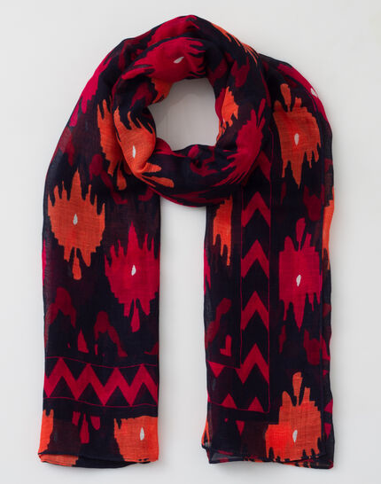 Sunset fuchsia printed scarf in mixed linen (2) - 1-2-3