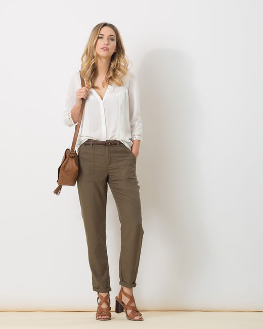 Pantalon kaki fluide poches cargo Dana (1) - 1-2-3