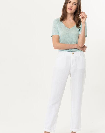Dorian white linen chinos PhotoZ | 1-2-3