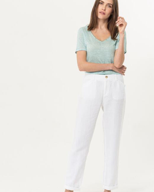 Pantalo chino blanc en lin Dorian (2) - 1-2-3