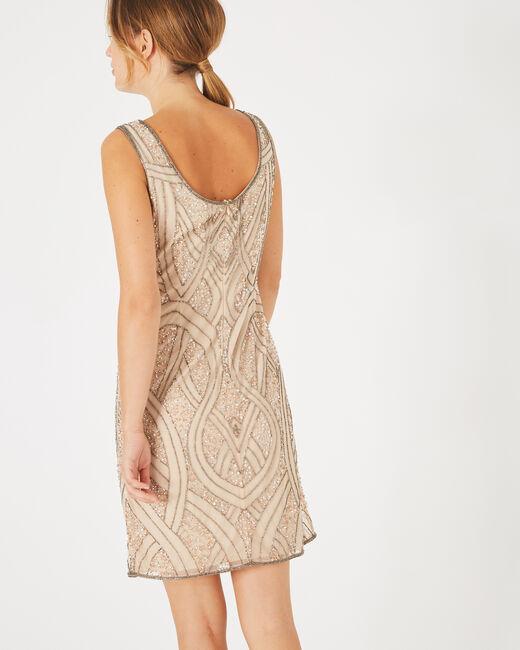 Nudefarbenes Kleid mit Stickerei Floride (1) - 1-2-3