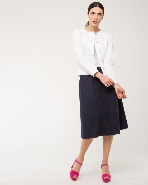 Veste blanche en jean col tressé Uma (1) - 1-2-3