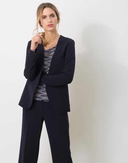 Maite belted navy blue jacket PhotoZ   1-2-3