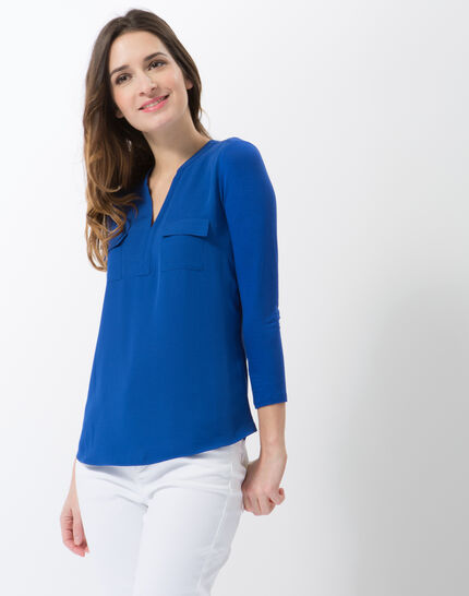 Leden royal blue dual-fabric T-shirt PhotoZ | 1-2-3