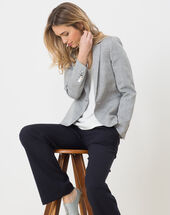 Evy sky blue linen jacket light indigo.