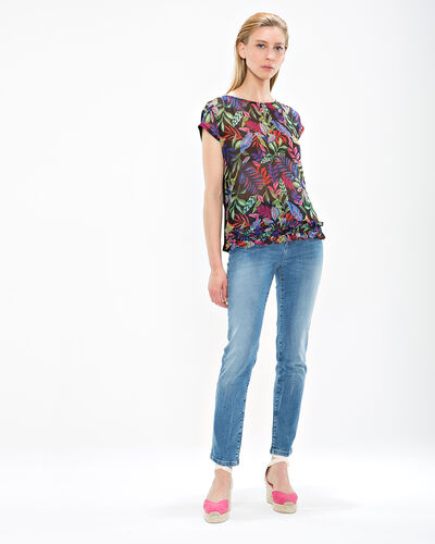 Tee-shirt noir imprimé fleuri Nima (2) - 1-2-3