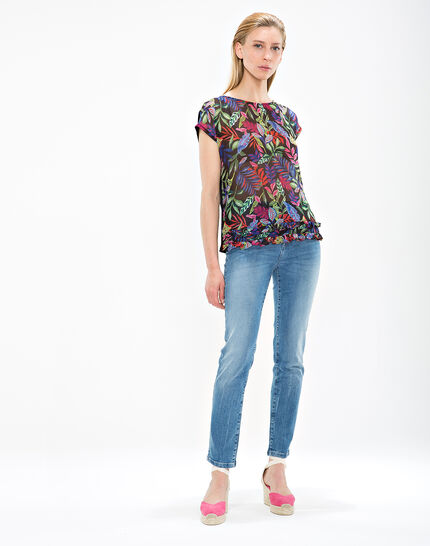 Nima black T-shirt with floral print (2) - 1-2-3
