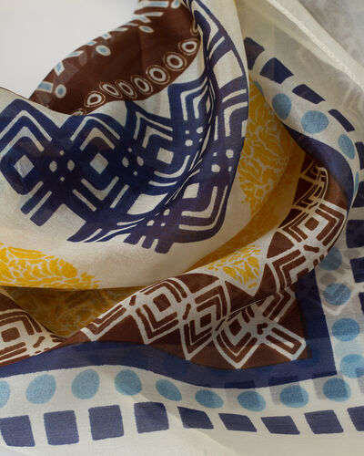Soleil yellow printed scarf in silk (2) - 1-2-3