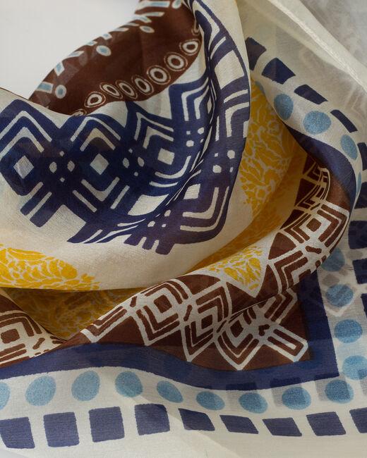 Foulard jaune imprimé en soie Soleil (2) - 1-2-3