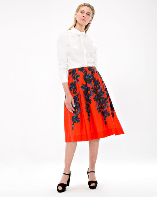 Dulcina red skirt with floral print (2) - 1-2-3