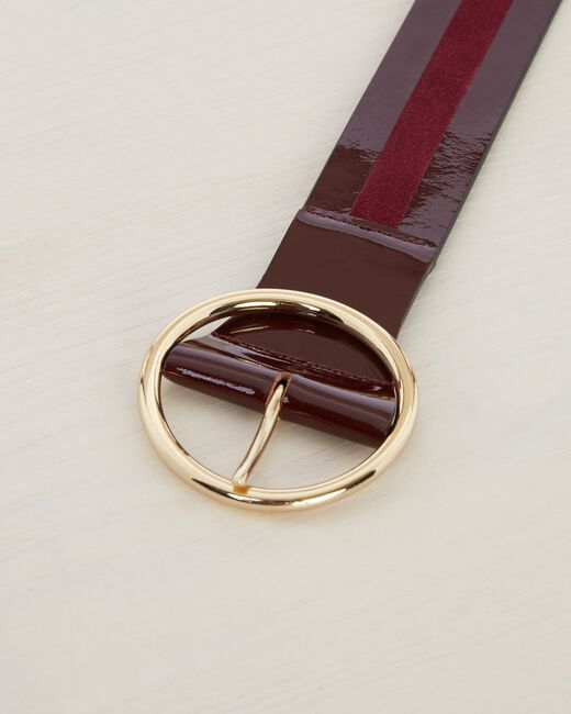 Olga burgundy dual-fabric leather belt (2) - 1-2-3