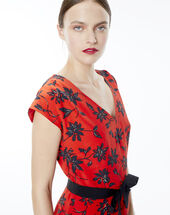 Red dress with a floral print red.