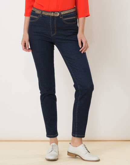 7/8 length raw-look jeans with golden belt (4) - 1-2-3
