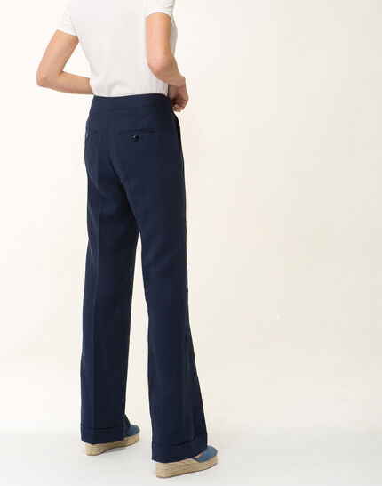 Pantalon large bleu marine en lin Roller (3) - 1-2-3