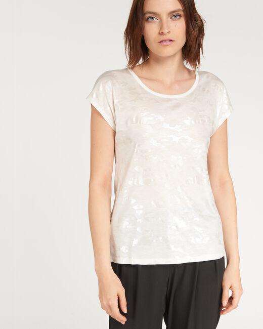 Nicoleta ecru T-shirt with print (2) - 1-2-3
