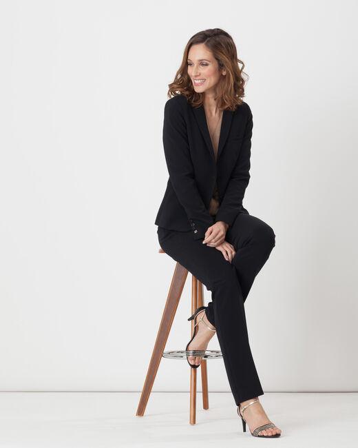 Pantalon de tailleur droit noir Super (2) - 1-2-3