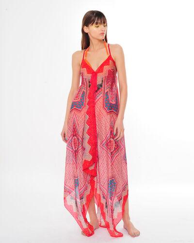 Robe foulard rouge imprimé graphique Salina (1) - 1-2-3