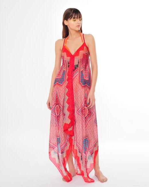 Rotes Kleid mit grafischem Halstuch-Print Salina (1) - 1-2-3