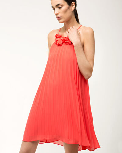 Fidele orange pleated dress (2) - 1-2-3
