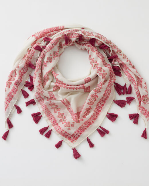 Foulard rose pâle Savine (1) - 1-2-3