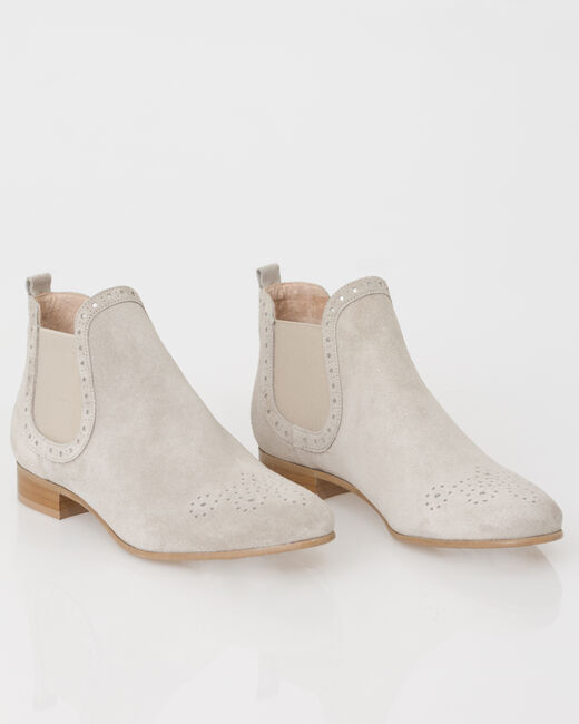 Jeanne taupe boots in suede (2) - 1-2-3