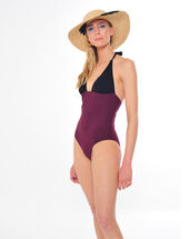 Joe one-piece bandeau swimsuit in black and burgundy  bordeaux.
