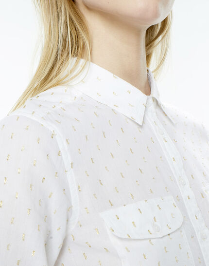 Ella ecru shirt embroidered with Lurex yarn (5) - 1-2-3