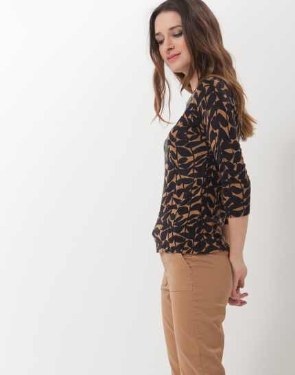 Hibiscus animal print T-Shirt with jewelled neckline (3) - 1-2-3
