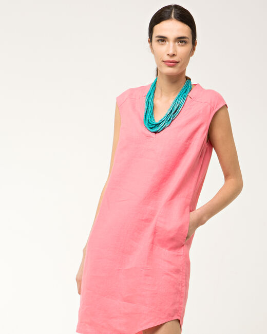 Robe rose en lin Bellini (2) - 1-2-3