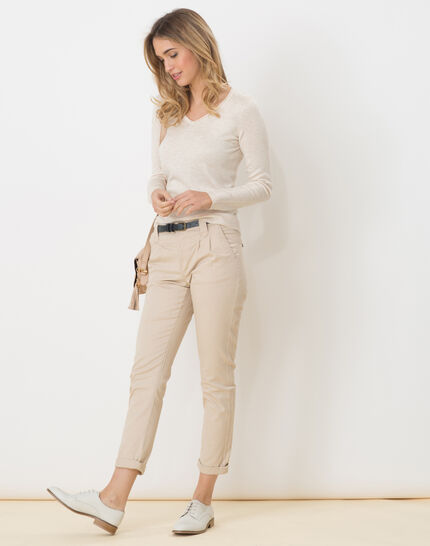 Honorine beige sweater with long sleeves (3) - 1-2-3