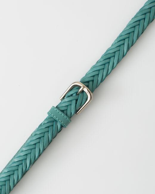 Ceinture tressée turquoise en cuir Yoyo (2) - 1-2-3