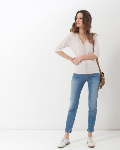 Honey V-neck pale pink sweater (2) - 1-2-3